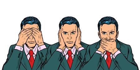 Ne pas voir dire regarder concept homme d'affaires. Isoler sur fond blanc Pop art retro vector illustration kitsch vintage des années 50 60