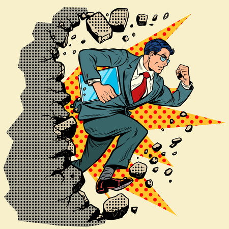 Leader gadget novation breaks a wall, destroys stereotypes. Moving forward, personal development. Pop art retro vector illustration vintage kitsch