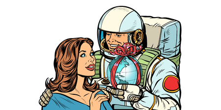Couple in love. Astronaut gives a woman the Earth. isolate on white background Pop art retro vector illustration drawing kitsch vintage