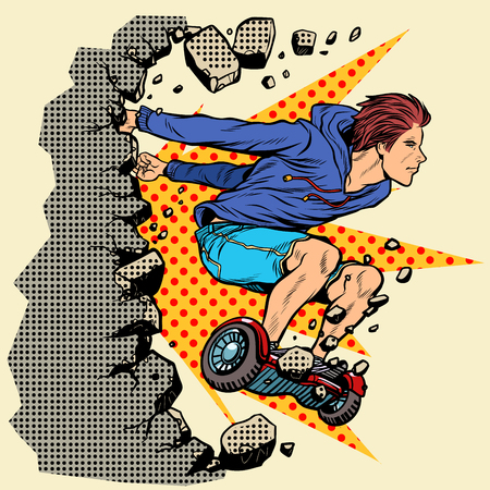 extreme teenager on hoverboard breaks the wall . Pop art retro vector illustration vintage kitsch 50s 60s