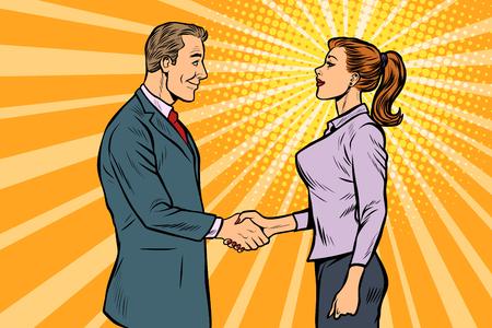 homme et femme homme d'affaires poignée de main. Pop art retro vector illustration kitsch vintage des années 50 60