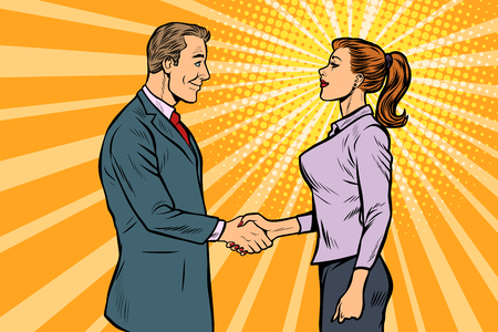 man and woman businessman handshake. Pop art retro vector illustration vintage kitsch 50s 60s Stock Illustratie