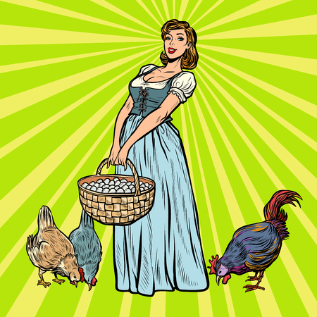village woman on a farm with chicken and eggs. Pop art retro vector illustration vintage kitsch 50s 60s