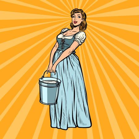 Dorffrau mit einem Eimer Wasser. Pop-Art Retro-Vektor-Illustration Vintage-Kitsch 50er 60er Jahre