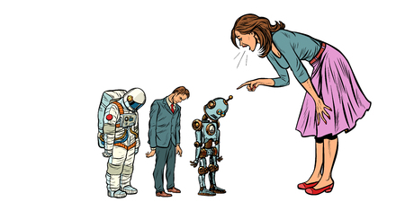 The woman scolds businessman, spaceman and robot. Pop art retro vector illustration vintage kitsch 50s 60s Illustration