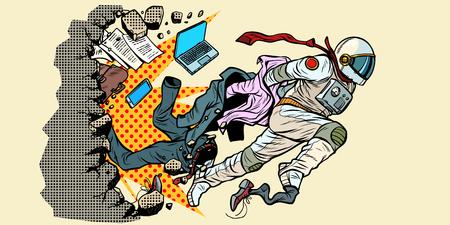rêve d'être astronaute, le leader sort des stéréotypes. brise le mur Nouvel espace de vie et science. Pop art rétro vector illustration kitsch vintage Vecteurs