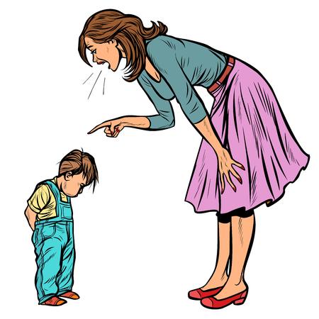 Mutter und schuldiger Sohn. auf weißem Hintergrund isolieren. Pop-Art Retro-Vektor-Illustration Vintage-Kitsch