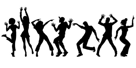 silhouettes collection set. young people dancing. men women boys girls. Pop art retro vector illustration kitsch vintage
