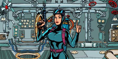 weibliche Taucherjägerin im U-Boot. Militärkommandokämpfer. Pop-Art Retro-Vektor-Illustration Vintage-Kitsch