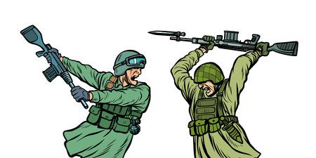 guerra y odio. los soldados se matan unos a otros. aislar sobre fondo blanco. Ilustración de vector retro pop art kitsch vintage