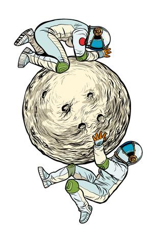 astronauci na Księżycu, eksploracja kosmosu. solat na białym tle. Pop-art retro wektor ilustracja kicz vintage