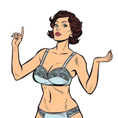 bella donna in biancheria intima lingerie isolare su sfondo bianco. Pop art retrò illustrazione vettoriale vintage kitsch anni '50 anni '60 Vettoriali