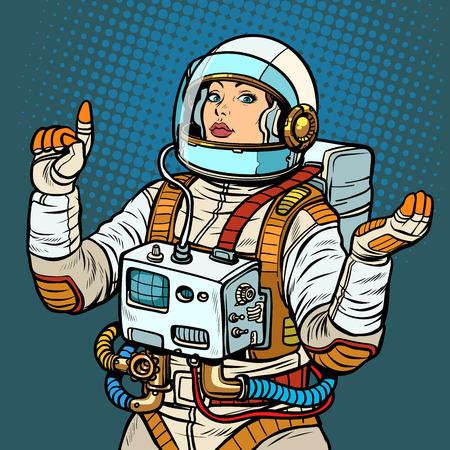 kobieta astronauta, eksploracja kosmosu. Pop-art retro wektor ilustracja vintage kicz 50 lat 60.