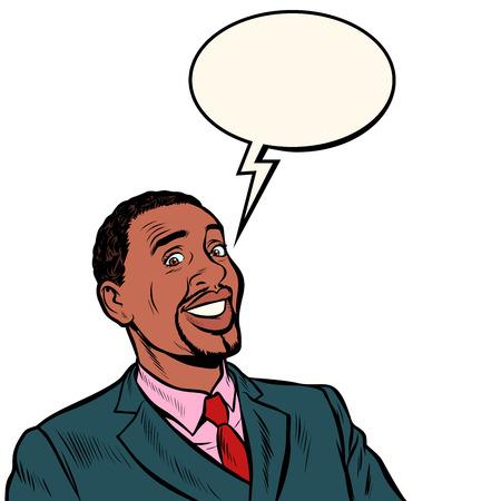 happy african businessman smiling. Pop art retro vector illustration vintage kitsch 50s 60s Reklamní fotografie - 122944944