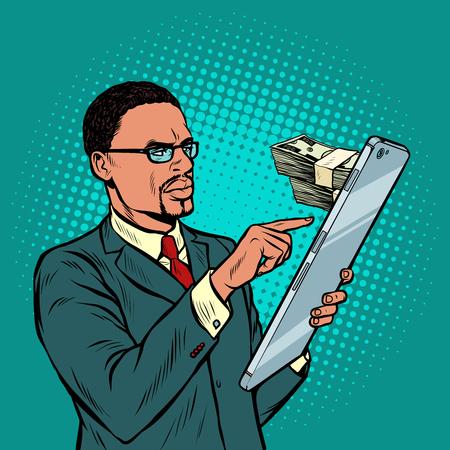 banca en línea. permuta, rentas y compras. empresario africano y smartphone con pantalla grande. Ilustración de vector retro pop art vintage kitsch 50s 60s