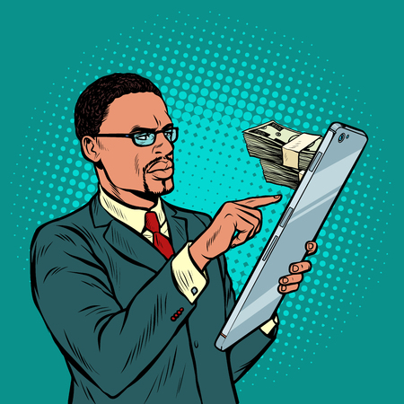 online banking. exchange, income and purchases. african businessman and smartphone with large screen. Pop art retro vector illustration vintage kitsch 50s 60s 일러스트