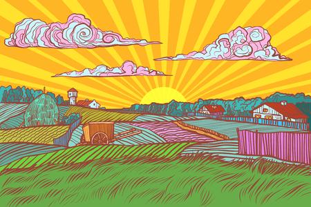 Pop art rural landscape sun sunrise morning. retro vector illustration vintage kitsch 50s 60s