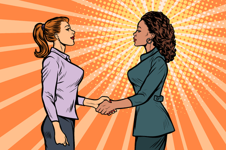 African and Caucasian businesswomen shaking hands. Pop art retro vector illustration vintage kitsch 50s 60s