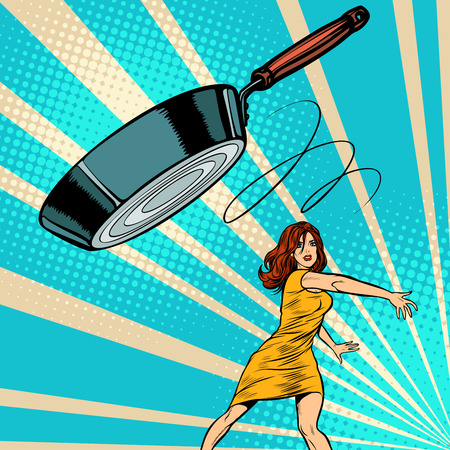 woman throws a frying pan. Pop art retro vector illustration vintage kitsch 50s 60s Ilustrace