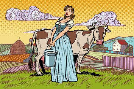 wieśniaczka z wiadrem krowiego mleka. krajobraz gospodarstwa. Pop-art retro wektor ilustracja kicz vintage Ilustracje wektorowe
