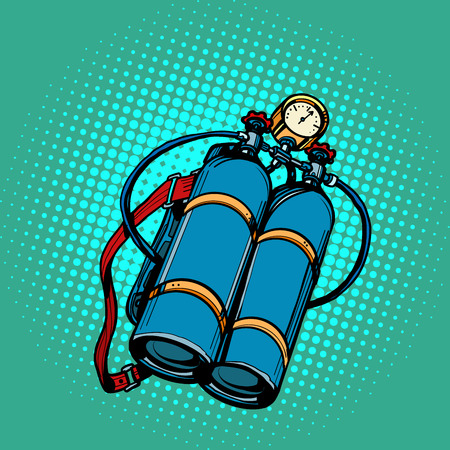 oxygen tank for diver. Underwater swimming. Pop art retro vector illustration kitsch vintage