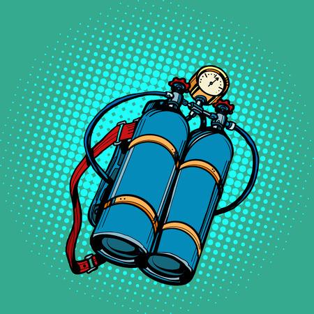 oxygen tank for diver. Underwater swimming. Pop art retro vector illustration kitsch vintage