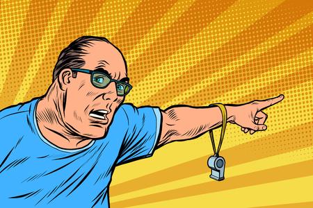 El entrenador o el árbitro pita y apunta. Ilustración de vector retro pop art kitsch vintage Ilustración de vector