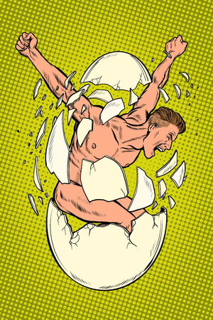 Concept the birth of men, revolution and protest, spiritual rebirth. Man breaks egg shells. Pop art retro vector illustration kitsch vintage Illustration