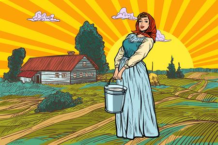mujer rural con un balde de agua o leche. paisaje de la granja. Ilustración de vector retro pop art kitsch vintage