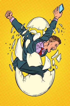 startup business birth concept. businessman appears from the shell of an egg. Pop art retro vector illustration kitsch vintage Иллюстрация