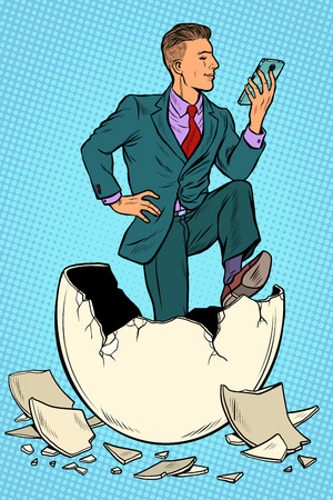 The businessman was born from an egg. Reads news in the smartphone. Pop art retro vector illustration kitsch vintage