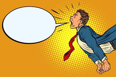 panic businessman screaming. Pop art retro vector illustration kitsch vintage Vetores