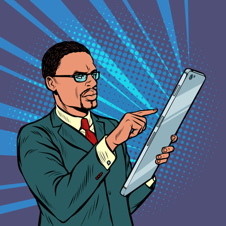 african businessman and smartphone with large screen. Pop art retro vector illustration vintage kitsch 50s 60s Illustration