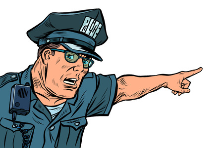 police officer cop points directions. isolate on white background. Pop art retro vector illustration kitsch vintage