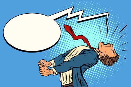 homme d'affaires de panique criant. Pop art rétro vector illustration kitsch vintage