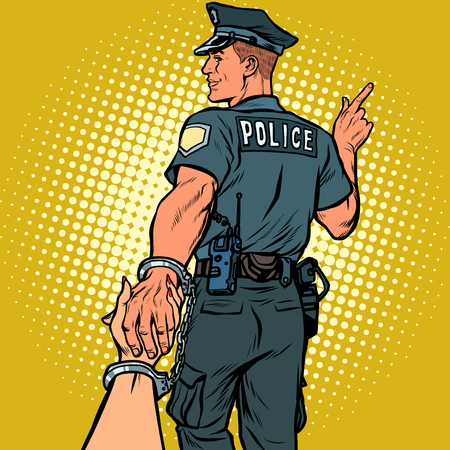follow me police officer arrested woman. love and marriage concept. Pop art retro vector illustration kitsch vintage