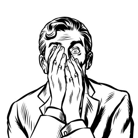 homme d'affaires surpris a couvert son visage avec ses mains. Pop art rétro vector illustration kitsch vintage