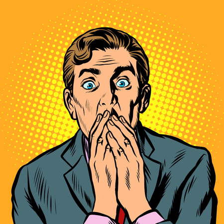 the surprised man covered his mouth with his hands. Pop art retro vector illustration vintage kitsch