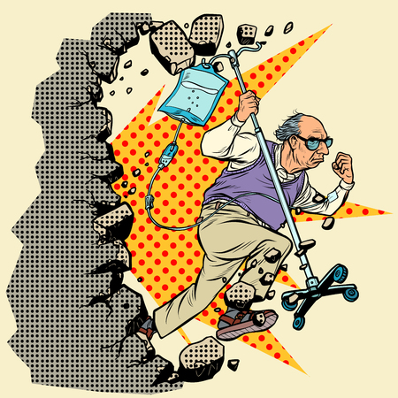 stop ageism. An old patient escapes from the hospital, grandpa with a dropper breaks the wall. Pop art retro vector illustration vintage kitsch