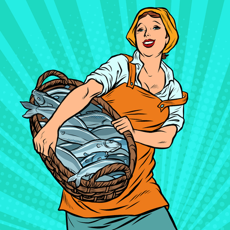 woman fisherman with a basket of fish. oceanic herring and cod. traditional craft. Pop art retro vector illustration vintage kitsch
