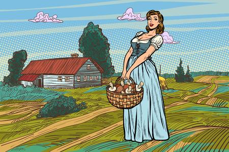village woman with a basket of mushrooms. Pop art retro vector illustration vintage kitsch Illustration