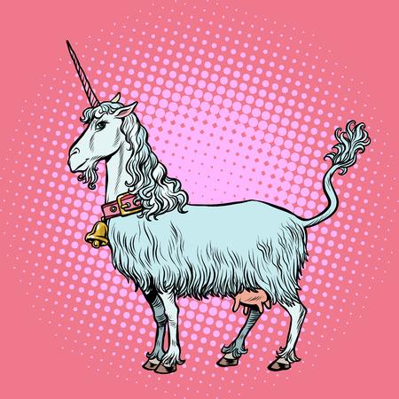 goat unicorn, a fabulous animal. Pop art retro vector illustration vintage kitsch