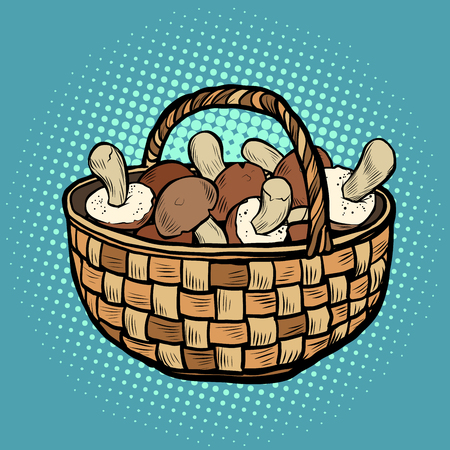 basket with mushrooms. Pop art retro vector illustration vintage kitsch