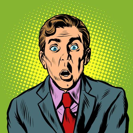 surprised man businessman. Pop art retro vector illustration vintage kitsch Illustration