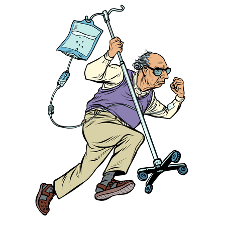 cheerful old man runs with a dropper. age stereotype ageism. Pop art retro vector illustration vintage kitsch