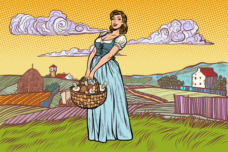 village woman with a basket of mushrooms. Pop art retro vector illustration vintage kitsch Illustration