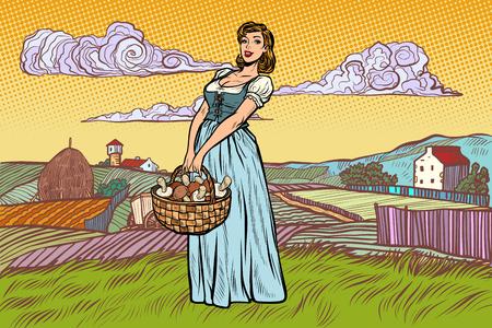village woman with a basket of mushrooms. Pop art retro vector illustration vintage kitsch Stock Vector - 128167800
