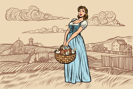 village woman with a basket of mushrooms. engraving effect. Pop art retro vector illustration vintage kitsch Illustration