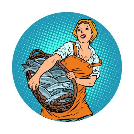 subasta de pescado mujer pescador. arenque y bacalao oceánicos. Pop art retro vector ilustración vintage kitsch