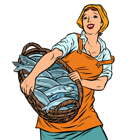 woman fisherman with a basket of fish. oceanic herring and cod. Pop art retro vector illustration vintage kitsch Stock Illustratie